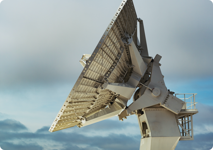 A ground system satellite points at the sky.